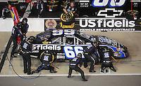 May 1, 2009; Richmond, VA, USA; NASCAR Nationwide Series driver Steve Wallace pits during the Lipton Tea 250 at the Richmond International Raceway. Mandatory Credit: Mark J. Rebilas-