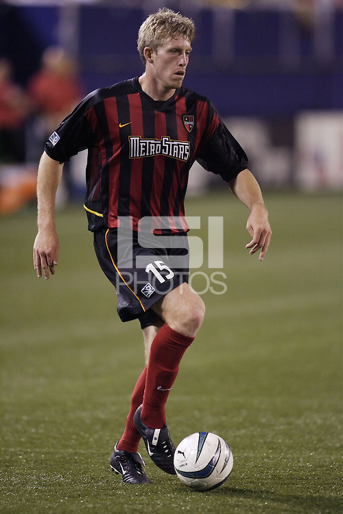 The MetroStars' John Wolyniec. The Kansas City Wizards were defeated by  the NY/NJ MetroStars to a 1 to 0 at Giant's Stadium, East Rutherford, NJ, on May 30, 2004.