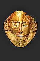 Gold death-mask, known as the 'mask of Agamemnon' from Mycenae, (16th cent. B.C.) in National Museum, Greece