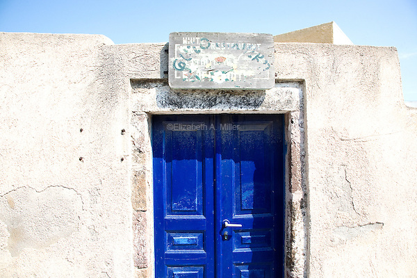An old doorway in the town of Megalochori in Santorini, Greece on July 7, 2013.