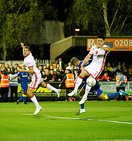 AFC Wimbledon's Cody McDonald cannot convert the cross during the Sky Bet League 1 match between AFC Wimbledon and MK Dons at the Cherry Red Records Stadium, Kingston, England on 22 September 2017. Photo by Carlton Myrie / PRiME Media Images.