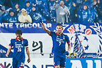 Suwon Forward Johnathan Da Silva Vilela (C) celebrating his score during the AFC Champions League 2017 Group G match Between Suwon Samsung Bluewings (KOR) vs Guangzhou Evergrande FC (CHN) at the Suwon World Cup Stadium on 01 March 2017 in Suwon, South Korea. Photo by Victor Fraile / Power Sport Images