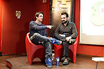 "Spanish eSports League of Legends in german Team Alternate player Alvar ""Araneae"" Martin (L) and Spanish film director Nacho Vigalondo attend the Fun & Serious Game festival presentationattends the Fun & Serious Game festival presentation. (ALTERPHOTOS/Victor Blanco)"