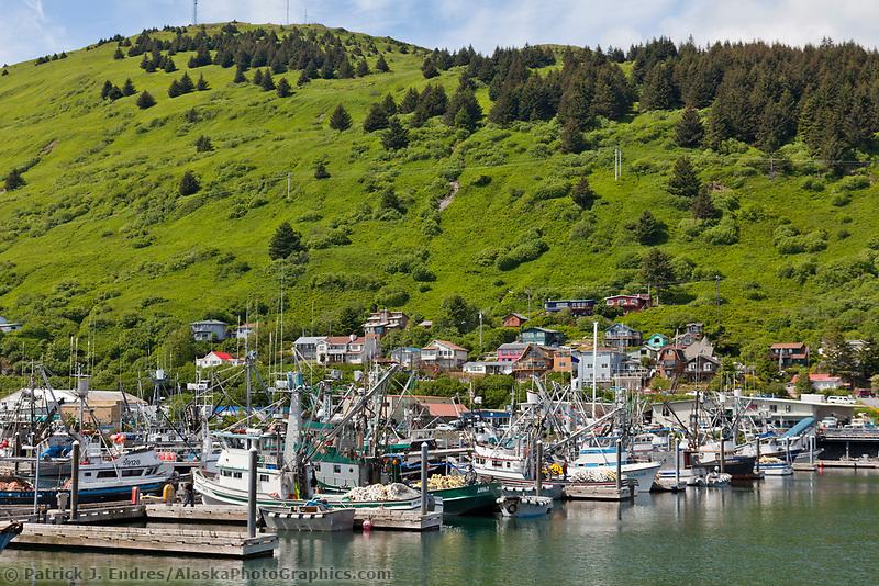 Fishing boats in St Paul harbor in downtown Kodiak, Kodiak Island, Alaska.