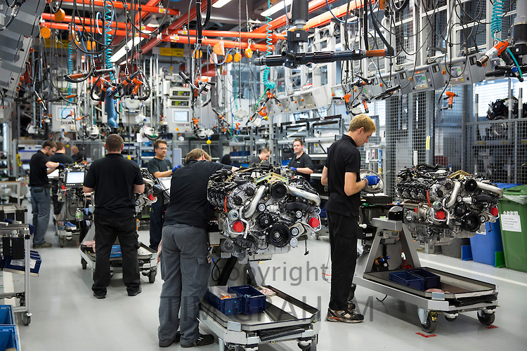 Mercedes-AMG engine production factory in Affalterbach, Germany - engineers at work each hand-building a M157 5.5L V8 biturbo engine