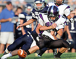 HARTFORD, SD - AUGUST 30:  Brody VanGinkel #15 from Dakota Valley can not hang on to the ball as Cole Tirrel #5 from West Central breaks up the pass during the first quarter of their game Friday night at West Central. (Photo by Dave Eggen/Inertia)