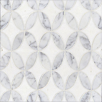 Audrey, a stone water jet mosaic, shown in Carrara and Thassos, is part of the Ann Sacks Beau Monde collection sold exclusively at www.annsacks.com