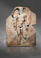 Roman Sebasteion relief sculpture of the god Okeanos (Ocean), Aphrodisias Museum, Aphrodisias, Turkey.  Against a grey background.<br /> <br /> The bearded of Okeanos makes an epiphany, controlling his cloak which billows around his head. Ocean would be paired with Earth: together they represented empire without end, over land and sea
