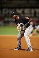Chattanooga Lookouts first baseman Ibandel Isabel (45) during a Southern League game against the Birmingham Barons on May 1, 2019 at Regions Field in Birmingham, Alabama.  Chattanooga defeated Birmingham 5-0.  (Mike Janes/Four Seam Images)