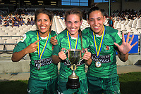 From left, Manawatu's Kristina Sue, Selica Winiata and Crystal Mayes celebrate winning the women's cup final. Day two of the 2018 Bayleys National Sevens at Rotorua International Stadium in Rotorua, New Zealand on Sunday, 14 January 2018. Photo: Dave Lintott / lintottphoto.co.nz