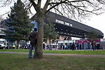 Fans making their way towards the stadium before Ipswich Town play Oxford United in a SkyBet League One fixture at Portman Road. Both teams were in contention for promotion as the season entered its final months. The visitors won the match 1-0 through a 44th-minute Matty Taylor goal, watched by a crowd of 19,363.