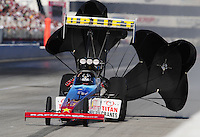Nov 13, 2010; Pomona, CA, USA; NHRA top fuel dragster driver Mark Mariani during qualifying for the Auto Club Finals at Auto Club Raceway at Pomona. Mandatory Credit: Mark J. Rebilas-