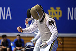 DURHAM, NC - FEBRUARY 26: Notre Dame's Kristjan Archer (ENG) reacts after winning a point in his Men's Foil semifinal bout. The Atlantic Coast Conference Fencing Championships were held on February, 26, 2017, at Cameron Indoor Stadium in Durham, NC.