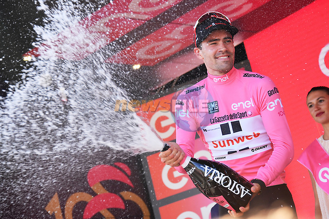 Race leader Maglia Rosa Tom Dumoulin (NED) Team Sunweb wins Stage 14 of the 100th edition of the Giro d'Italia 2017, running 131km from Castellania to Oropa, Italy. 20th May 2017.<br /> Picture: LaPresse/Gian Mattia D'Alberto | Cyclefile<br /> <br /> <br /> All photos usage must carry mandatory copyright credit (&copy; Cyclefile | LaPresse/Gian Mattia D'Alberto)