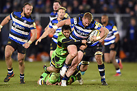 Will Hurrell of Bath Rugby takes on the Northampton Saints defence. Aviva Premiership match, between Bath Rugby and Northampton Saints on February 9, 2018 at the Recreation Ground in Bath, England. Photo by: Patrick Khachfe / Onside Images