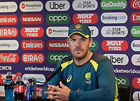 Aaron Finch (Australia) talks to the media during a Press Conference at Edgbaston Stadium on 10th July 2019