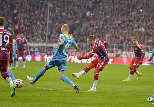 27.02.2015. Allianz Arena, Munich, Germany. Bundesliga football league. Bayern Munich versus FC Cologne.  Franck Ribery (Munich) scores for 2:0 .