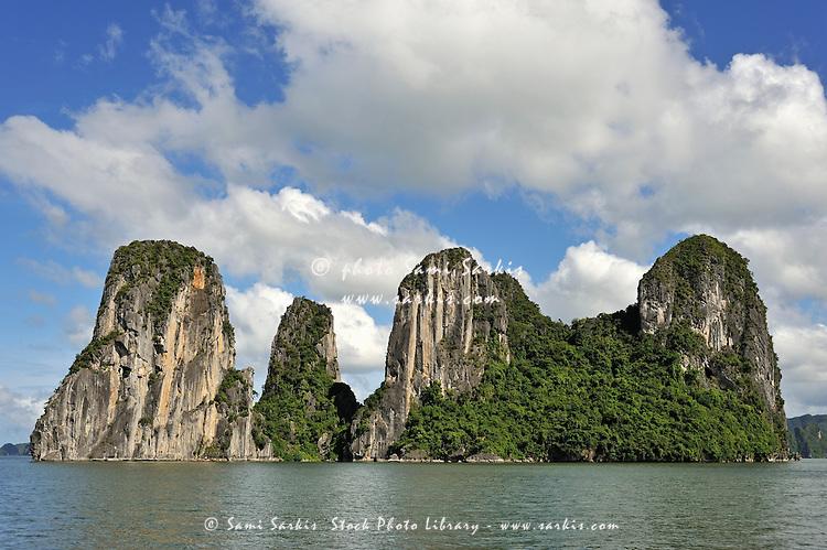 Limestone karst peaks islands in Ha long Bay, Vietnam