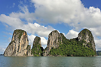 Limestone karst peaks islands in Ha long Bay, Vietnam