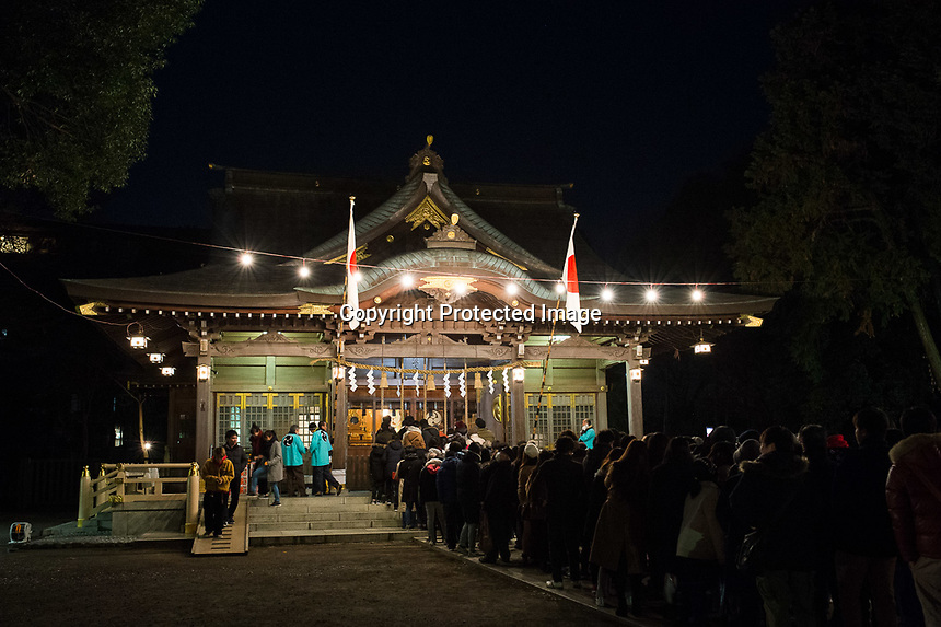 Locals gather at the Yasaka Shrine, Kumagawa, Tokyo, Japan, just after mid-night, 01st Jan 2017.