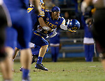 BROOKINGS, SD - OCTOBER 11:  Melvin Tavaris #1 from South Dakota State celebrates an interception against Missouri State in the fourth quarter Saturday evening at Coughlin Alumni Stadium in Brookings. (Photo/Dave Eggen/Inertia)