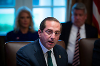 Alex Azar, secretary of Health and Human Services (HHS), speaks during a cabinet meeting in the Cabinet Room of the White House, on Wednesday, Jan. 2, 2019 in Washington, D.C. Photo Credit: Al Drago/CNP/AdMedia
