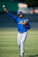 GCL Mets pitcher Michel Otanez (77) warms up before a game against the GCL Cardinals on August 6, 2018 at Roger Dean Chevrolet Stadium in Jupiter, Florida.  GCL Cardinals defeated GCL Mets 6-3.  (Mike Janes/Four Seam Images)