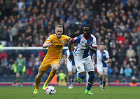 Blackburn Rovers' Marvin Emnes and Preston North End's Tom Clarke<br /> <br /> Photographer Rachel Holborn/CameraSport<br /> <br /> The EFL Sky Bet Championship - Blackburn Rovers v Preston North End - Saturday 18th March 2017 - Ewood Park - Blackburn<br /> <br /> World Copyright &copy; 2017 CameraSport. All rights reserved. 43 Linden Ave. Countesthorpe. Leicester. England. LE8 5PG - Tel: +44 (0) 116 277 4147 - admin@camerasport.com - www.camerasport.com