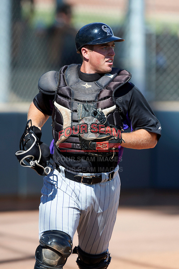 Colorado Rockies minor league catcher Tom Murphy #70 during an instructional league intrasquad game at the Salt River Flats Complex on October 5, 2012 in Scottsdale, Arizona.  (Mike Janes/Four Seam Images)