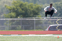 HEMPFIELD TOWNSHIP, PA - AUGUST 20:  Terrelle Pryor jumps prior to his pro day at a practice facility on August 20, 2011 in Hempfield Township, Pennsylvania.  (Photo by Jared Wickerham/Getty Images)