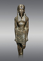 Ancient Egyptian statue of a Ptolomaic king in pharaonic regalia, granodiorire, Ptolemaic Period (332-30BC). Egyptian Museum, Turin. Grey background<br /> <br /> The Ptolomaic king is dressed a a pharaoh wearing a nemes headdress and a false beard . Drovetti Collection, Cat 1384