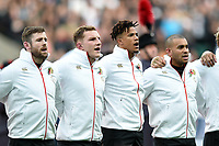 Elliot Daly, Sam Underhill, Anthony Watson and Jonathan Joseph of England sing the national anthem. Old Mutual Wealth Series International match between England and Argentina on November 11, 2017 at Twickenham Stadium in London, England. Photo by: Patrick Khachfe / Onside Images