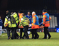 Oldham Athletic's Dan Gardner is stretchered off injured<br /> <br /> Photographer Andrew Vaughan/CameraSport<br /> <br /> The EFL Sky Bet League Two - Oldham Athletic v Lincoln City - Tuesday 27th November 2018 - Boundary Park - Oldham<br /> <br /> World Copyright © 2018 CameraSport. All rights reserved. 43 Linden Ave. Countesthorpe. Leicester. England. LE8 5PG - Tel: +44 (0) 116 277 4147 - admin@camerasport.com - www.camerasport.com