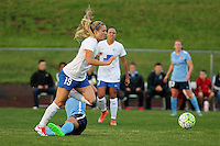 Piscataway, NJ - Friday May 13, 2016: Boston Breakers midfielder Kristie Mewis (19) gets past a tackle during a regular season National Women's Soccer League (NWSL) match at Yurcak Field.