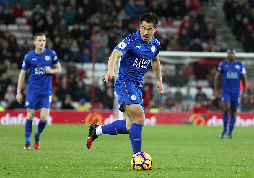 Leicester City's Shinji Okazaki in action during todays match  <br /> <br /> Photographer Rich Linley/CameraSport<br /> <br /> The Premier League - Sunderland v Leicester City - Saturday 3rd December 2016 - Sunderland Stadium of Light - Sunderland<br /> <br /> World Copyright &copy; 2016 CameraSport. All rights reserved. 43 Linden Ave. Countesthorpe. Leicester. England. LE8 5PG - Tel: +44 (0) 116 277 4147 - admin@camerasport.com - www.camerasport.com