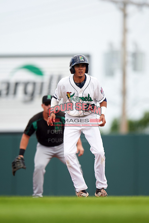 Cedar Rapids Kernels designated hitter Nelson Molina (23) leads off first base during a game against the Dayton Dragons on July 24, 2016 at Perfect Game Field in Cedar Rapids, Iowa.  Cedar Rapids defeated Dayton 10-6.  (Mike Janes/Four Seam Images)