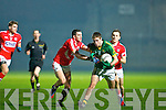 Adrian Spillane (Kerry) in action with Brian O'Driscoll and Mark Sugrue in the Cabury Munster U21 Quarter Final 2014 at Austin Stack Park, Tralee on Wednesday night.