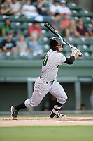 Second baseman Simon Whiteman (10) of the Augusta GreenJackets bats in a game against the Greenville Drive on Thursday, August 29, 2019, at Fluor Field at the West End in Greenville, South Carolina. (Tom Priddy/Four Seam Images)