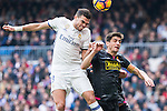 Kleper Lima Ferreira Pepe of Real Madrid competes for the ball with Gerard Moreno of RCD Espanyol during the match of La Liga between Real Madrid and RCE Espanyol at Santiago Bernabeu  Stadium  in Madrid , Spain. February 18, 2016. (ALTERPHOTOS/Rodrigo Jimenez)
