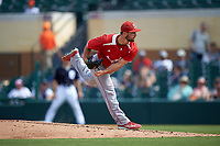 Florida Southern Moccasins relief pitcher A.J. Smith (40) delivers a pitch during an exhibition game against the Detroit Tigers on February 29, 2016 at Joker Marchant Stadium in Lakeland, Florida.  Detroit defeated Florida Southern 7-2.  (Mike Janes/Four Seam Images)