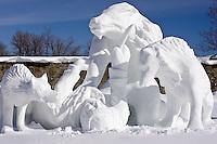 Quebec City ? February 14, 2008. Team Canada contribution to the International winter sculpture contest of the Quebec Winter Carnival.  Winner of the peoples? merit award, the sculpture, called Loup-Garou (wherewolf), is a creation of Donald C Watt, Michael Lane and Gisli Balzer.