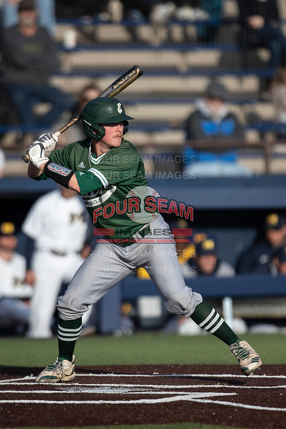 Eastern Michigan Eagles outfielder Shane Easter (1) at bat during the NCAA baseball game against the Michigan Wolverines on May 8, 2019 at Ray Fisher Stadium in Ann Arbor, Michigan. Michigan defeated Eastern Michigan 10-1. (Andrew Woolley/Four Seam Images)
