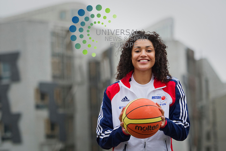 GB and Canada Women's Olympic basketball teams meet at a reception at Dynamic Earth ahead of their game at Meadowbank Stadium at the weekend, Edinburgh, Scotland, 8th June, 2012..Picture:Scott Taylor Universal News And Sport (Europe) Pictured Dominique Allen GB Team..All pictures must be credited to www.universalnewsandsport.com. (Office)0844 884 51 22.