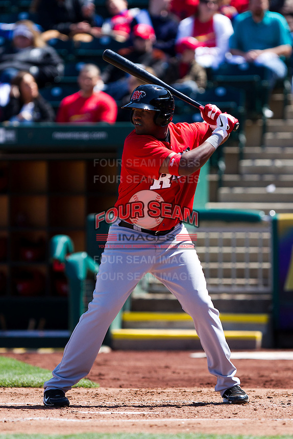Jose Ruiz (50) of the Frisco RoughRiders at bat during a game against the Springfield Cardinals on April 16, 2011 at Hammons Field in Springfield, Missouri.  Photo By David Welker/Four Seam Images.