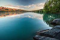 Sunrise reflection, Lake Dunstan, Central Otago, New Zealand - stock photo, canvas, fine art print