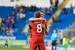 Craig Bellamy celebrates his goal with new cap Adam Matthews of Wales during the Wales v Norway Vauxhall international friendly match at the Cardiff City Stadium in South Wales..Editorial use only.
