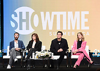 "BEVERLY HILLS - AUGUST 2: Executive Producer/Showrunner/Writer Dave Holstein, Catherine Keener, Executive Producer/Star Jim Carrey, and Judy Greer onstage during the ""Kidding"" panel at the Showtime portion of the Summer 2019 TCA Press Tour at the Beverly Hilton on August 2, 2019 in Los Angeles, California. (Photo by Frank Micelotta/PictureGroup)"
