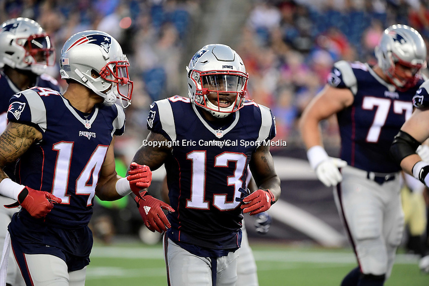 Thursday August 11, 2016: New England Patriots wide receiver DeAndre Carter (13) in game action during an NFL pre-season game between the New Orleans Saints and the New England Patriots held at Gillette Stadium in Foxborough Massachusetts. The Patriots defeat the Saints 34-22 in regulation time. Eric Canha/CSM