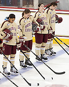 Kaliya Johnson (BC - 6), Alex Carpenter (BC - 5), Melissa Bizzari (BC - 4), Kristina Brown (BC - 2) - The Boston College Eagles defeated the visiting Harvard University Crimson 3-1 in their NCAA quarterfinal matchup on Saturday, March 16, 2013, at Kelley Rink in Conte Forum in Chestnut Hill, Massachusetts.