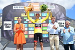 Race leader Richie Porte (AUS) BMC Racing Team retains the Yellow Jersey on the podium at the end of Stage 7 of the Criterium du Dauphine 2017, running 168km from Aoste to Alpe d'Huez, France. 10th June 2017. <br /> Picture: ASO/A.Broadway | Cyclefile<br /> <br /> <br /> All photos usage must carry mandatory copyright credit (&copy; Cyclefile | ASO/A.Broadway)